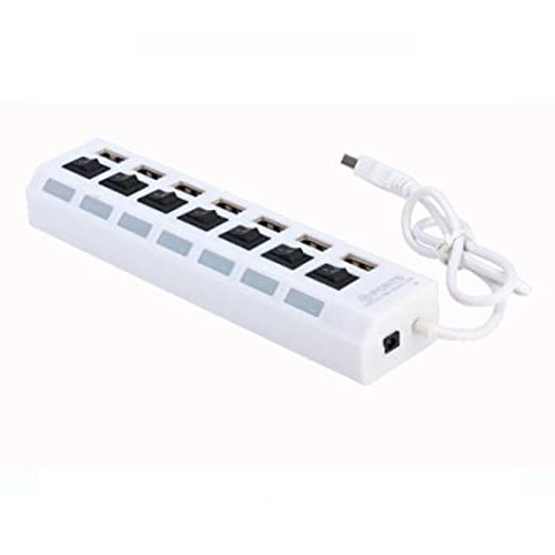 7 PORTS USB 2.0 HI-SPEED USB HUB WITH INDIVIDUAL ON & OFF SWITCHES – WHITE