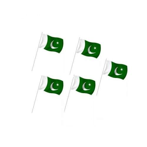 PAKISTAN HAND FLAG WITH STICK - SMALL (SET OF 5)