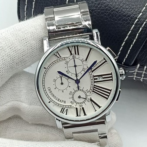 CARTIER STRAP AND CHAIN CHRONO WORK GENTS WATCH WITH BOX