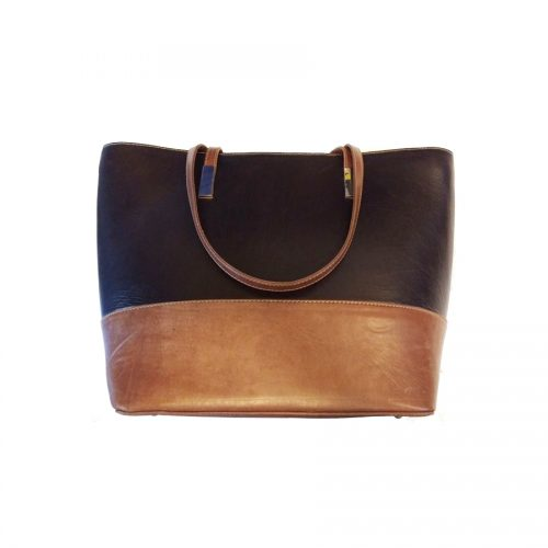 CLASSIC BLACK AND BROWN LEATHER BAG FOR WOMEN