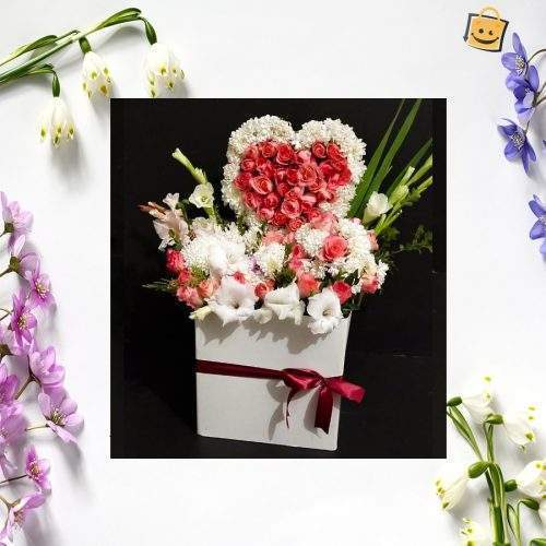 FOR THE LOVE OF LIFE PINK ROSES IN BASKET