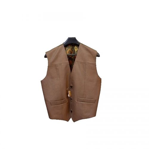 LEATHER JACKETS HALF SLEEVES FOR MENS (BROWN)