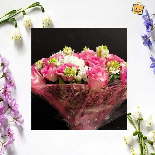 PINK ROSE AND WHITE GLAD FLOWER BOUQUET