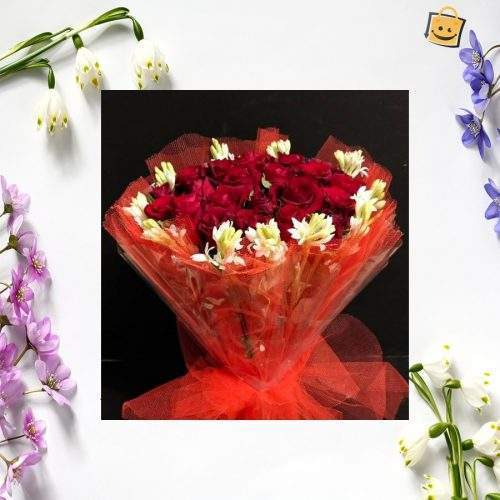 RED FOR LOVE BOUQUET WITH GLAD
