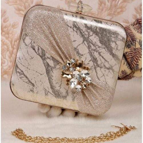 FANCY BRIDAL CLUTCH WITH LONG CHAIN