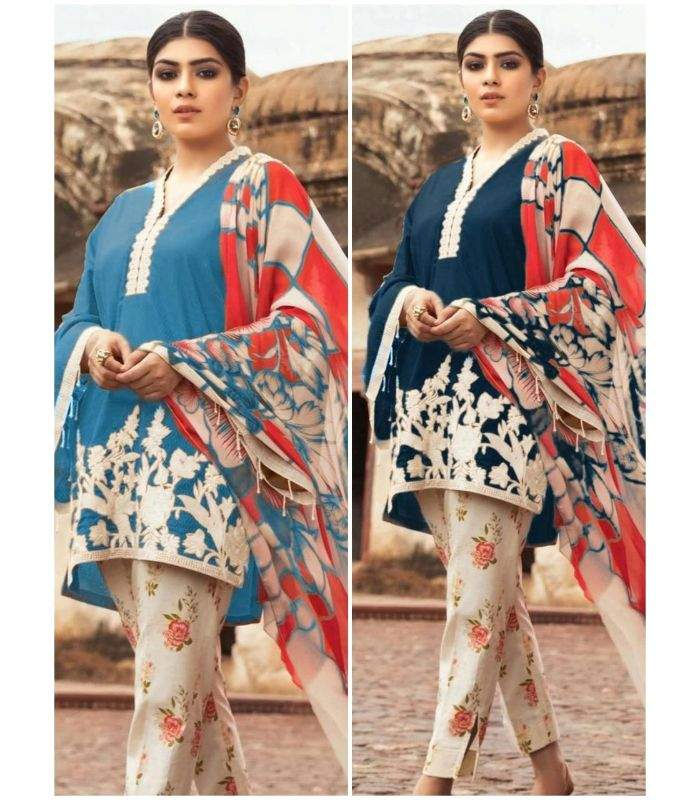 SAPPHIRE 3PC LINEN PRINTED EMBROIDARY SHIRT WITH PRINT TROUSER AND WOOL SHAWL (TS-544)