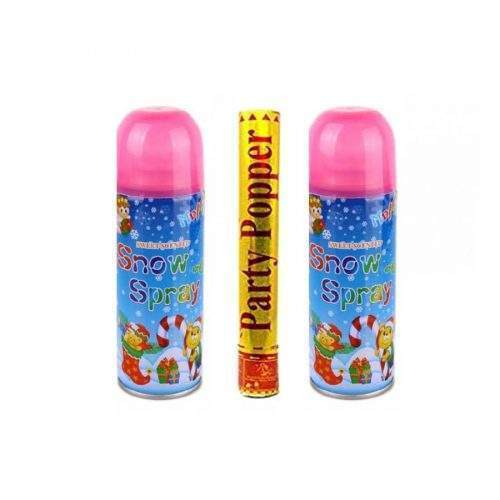 SNOW SPRAY AND PARTY POPPER PACK FOR BIRTHDAY AND CELEBRATION EVENTS