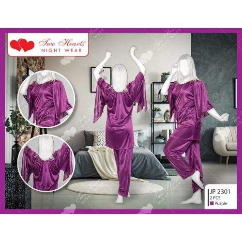 2 PIECE SILK LADIES BEDGOWN WITH BELL SLEEVES (PURPLE)