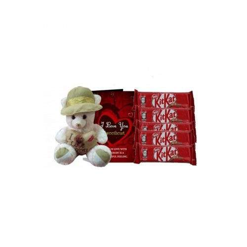 FOR THE LOVE - MEDIUM TEDDY WITH KITKAT CHOCOLATE AND GREETING CARD