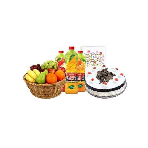 MIX FRUIT BASKET WITH CAKE AND NESTLE JUICES GIFT PACK
