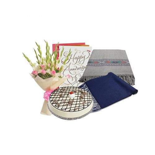 PARENTS SPECIAL GIFT PACK - SHAWLS FOR BOTH WITH CAKE AND BOQUET