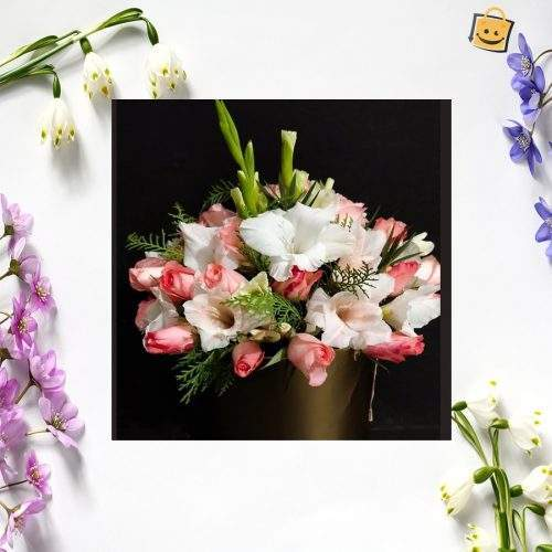 PINK AND WHITE GLAD FLOWER BOUQUET BASKET