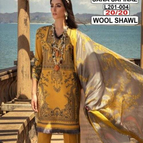 SANA SAFINAZ EMBROIDERED MARINA UNSTITCHED 3 PC SUIT WITH WOOL SHAWL (266B)
