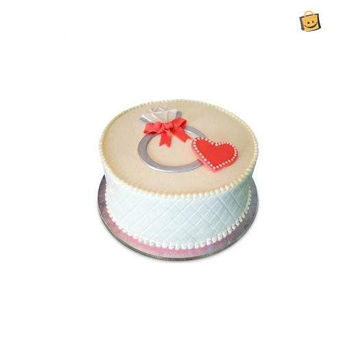 TOGETHERNESS ENGAGEMENT RING THEME CAKE - 3 LBS