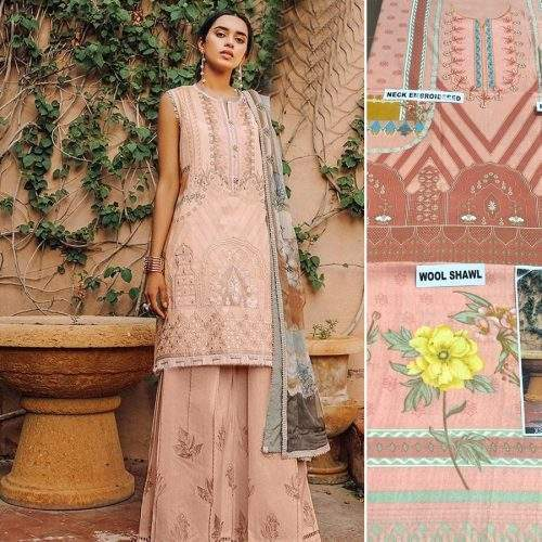 BAROQUE 3PC LINEN WITH WOOL SHAWL SUIT - PEACH MEADOW BEAM (ACJ)