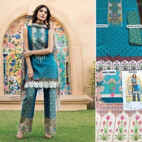 FIRDOUS 3PC LINEN WITH WOOL SHAWL SUIT SS-13 (ACJ)
