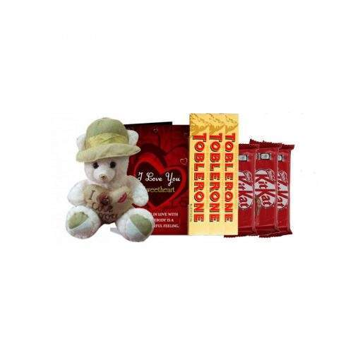 FOR THE LOVE - MEDIUM TEDDY WITH KITKAT AND TOBLERONE CHOCOLATE AND GREETING CARD