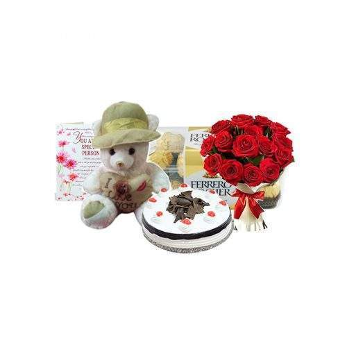 ROSES BOUQUET WITH CAKE, FERRERO ROCHERS AND TEDDY BEAR