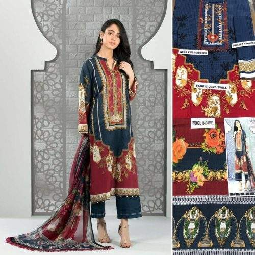 SAPPAHIRE 3PC LINEN WITH WOOL SHAWL SUIT - MAJESTIC (ACJ)
