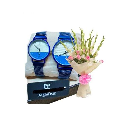 AQUA TIME WATCH PAIR WITH BOX WITH CARD AND FLOWERS