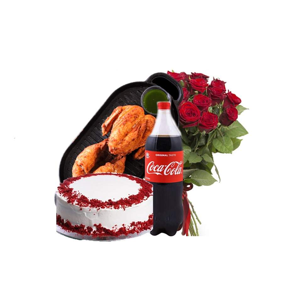 CELEBRATE TOGETHERNESS (CAKE, CHICKEN BROAST, COLD DRINK AND FRESH FLOWER BOUQUET)