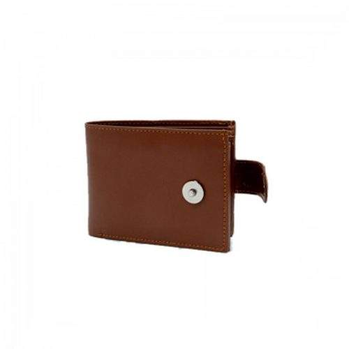 DARK BROWN LEATHER WALLET WITH BUTTON - BI FOLD