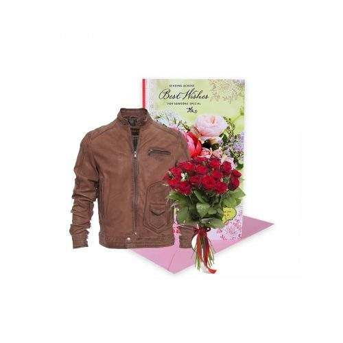 GIFT FOR HIM (LEATHER JACKET, ROSE BOUQUET, GREETING CARD)