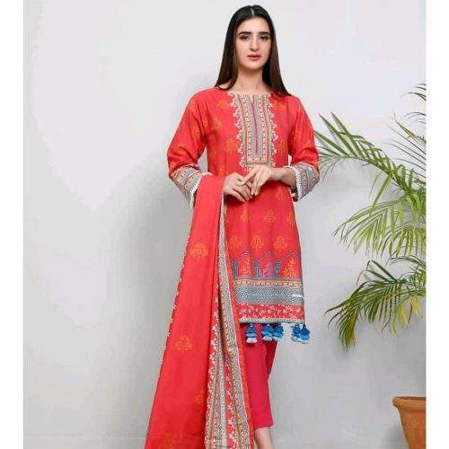 POPULAR 3PC LAWN WITH PRINTED SHIRT AND DUPATTA AND DYED TROUSER (V5-4)