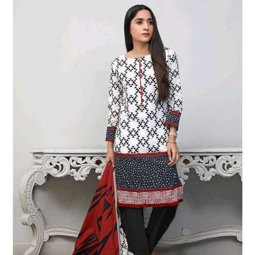 POPULAR 3PC LAWN WITH PRINTED SHIRT AND DUPATTA WITH DYED TROUSER (V5-8)
