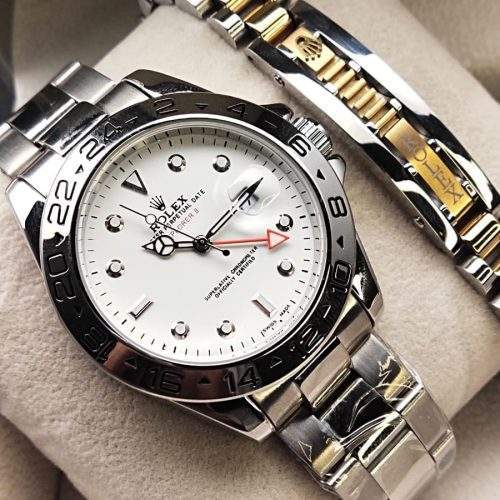 ROLEX FOR GENTS IN STAINLESS STEEL CHAIN WITH BRACELET - GOLDEN