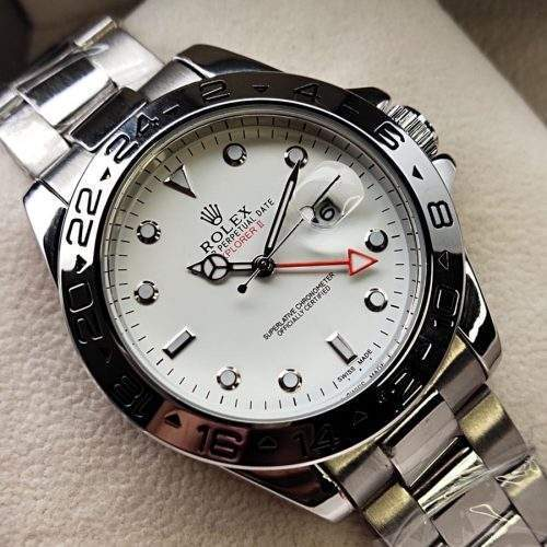 ROLEX for Gents in Stainless Steel Chain white