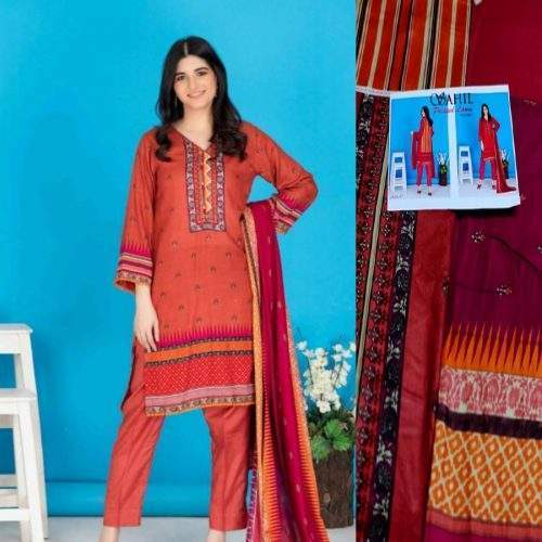 SAHIL 3PC LAWN WITH PRINTED SHIRT AND DUPATTA AND TROUSER (V1-8)