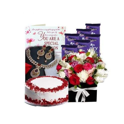 SPECIAL FOR HER (KUNDAN JEWELLERY SET, FLOWERS, CAKE AND CHOCOLATES)