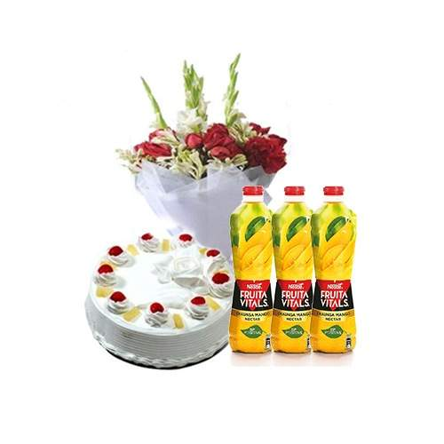 BEST WISHES GIFTS CAKE, JUICES AND BOUQUET