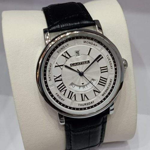 CARTIER. MENS WATCH WITH LEATHER STRAP AND STEEL BACK