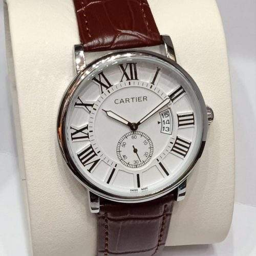 CARTIER. MENS WATCH WITH LEATHER STRAP AND STEEL BACK - brown