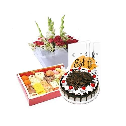 EID GIFTS IN ISLAMABAD CAKE WITH METHAI, FLOWERS AND CARD