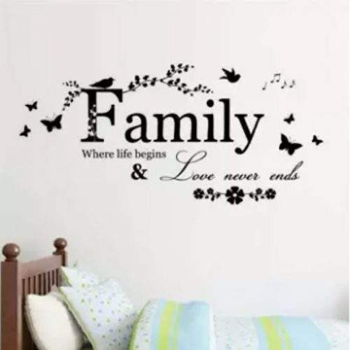 FAMILY WHERE LIFE BEGINS & LOVE NEVER ENDS WALL ART STICKER QUOTE BEDROOM LIVING ROOM
