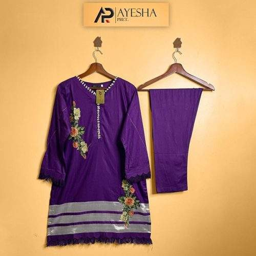 FLOWERS BY AYESHA PRET - 2PC LAWN COTTON -2