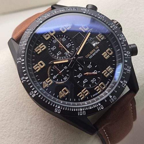 TAG HEUER CALIBRE 16 GENTS WATCH IN LEATHER STRAP WITH CHRONOGRAPH (AA QUALITY)