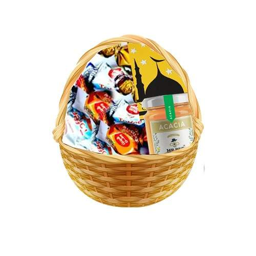 BASKET FULL OF TOFFEES WITH HONEY AND CARD