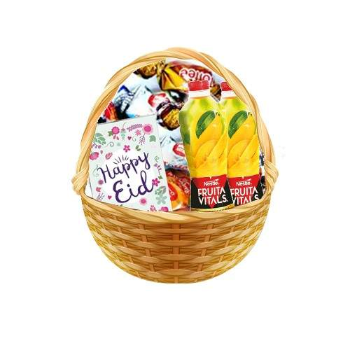 BASKET FULL OF TOFFEES WITH NESTLE JUICE AND CARD