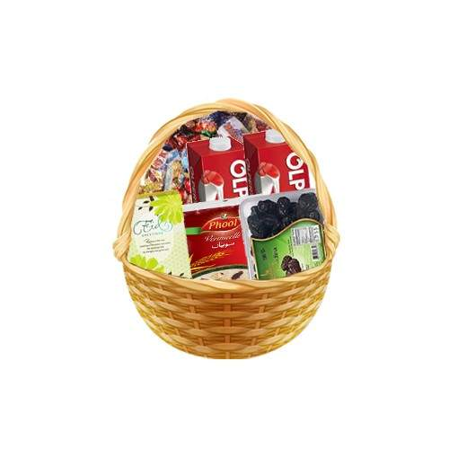 MIX EID MORNING BASKET WITH AJWA DATES, VERMICELLI, OLPERS, TOFEES AND CARD