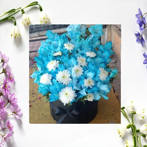 BLUE FOR YOU FLOWER BOUQUET WITH BASKET