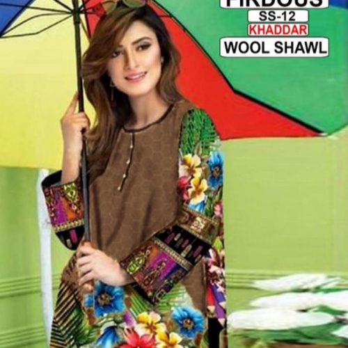 3PC LINEN PRINTED EMBROIDARY SHIRT WITH DYED TROUSER AND WOOL SHAWL (JM-1186)