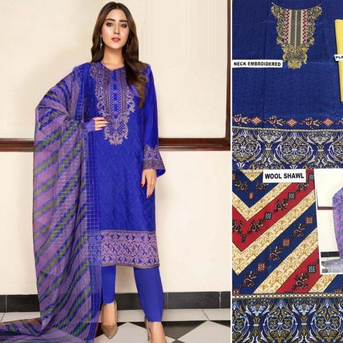 3PC LINEN PRINTED EMBROIDARY SHIRT WITH DYED TROUSER AND WOOL SHAWL (JM-1180)