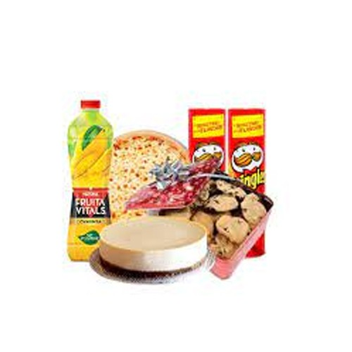 PERFECT FRIENDS PARTY COMBO GIFT DEAL (1 SMALL CHEESE PIZZA, 1 POUND CHEESE CAKE, 1 NESTLE FRUITA VITAL, 2 PRINGLES, 1 COOKIES BOX)