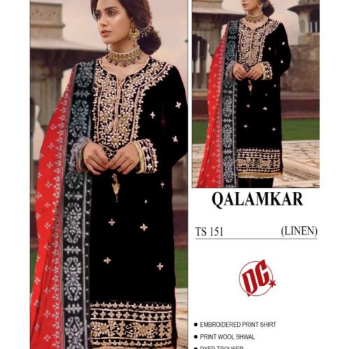 QALAMKAR 3PC LINEN EMBROIDERED PRINT SHIRT DYED TROUSER AND WOOL SHAWL (BTS 151)