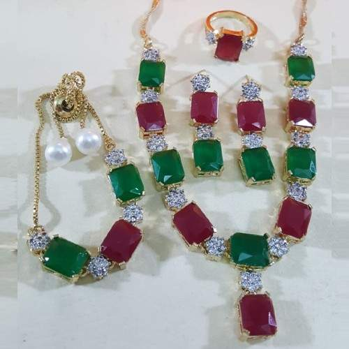 ZIRCON INDIAN COMBO SET WITH ADJUSTABLE RING (RED AND GREEN)