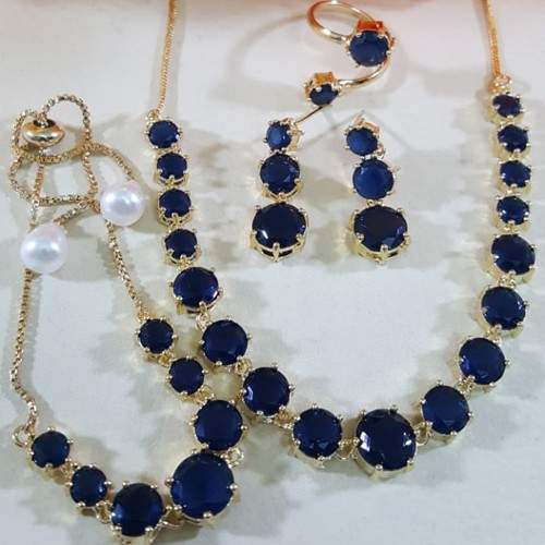 ZIRCON INDIAN COMBO SET WITH ADJUSTABLE RING (ROYAL BLUE)